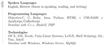 Language Spoken In Resume Xetex Sideways Text With Rule As Table Label Tex Latex Stack