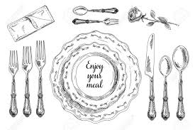 vector hand drawn illustration with table setting set sketch