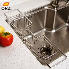 Kitchen Sink Tray Orz Kitchen Drainer Drying Basket Stainless Steel Dish Sponge Sink