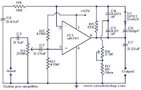 guitar pre amplifier using ua 741 electronic circuits and