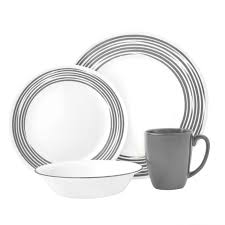 boutique brushed 16 pc dinnerware set silver corelle