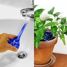 evelots 3 mini decorative glass watering globes plant watering