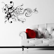 flowers swirls and vines with butterfly corner decorative wall flowers swirls and vines with butterfly corner decorative wall sticker decal a