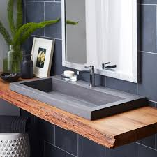 contemporary trough sinks for bathroom ideas with rustic flair