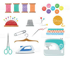 sewing tools and equipment needle machine pin yarn stock vector