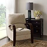amazon com contemporary green bent arm recliner with wood arms is