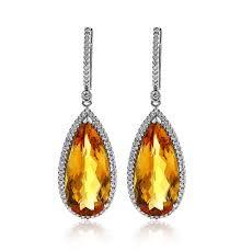 drop earrings gold pear cut citrine and diamond halo drop earrings in 14k white gold