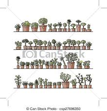 clipart vector of shelves with cactus in pots sketch for your