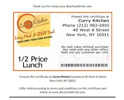 nyc restaurant discounts half price lunch at curry kitchen west