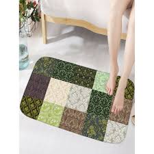 Thin Bathroom Rugs Plant Plaid Flannel Water Absorption Bathroom Rug In Colormix Thin