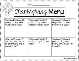 thanksgiving meal plan by hankinson teachers pay teachers