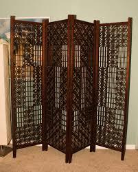 mid century teak wood screen asian room divider 4 panels vintage