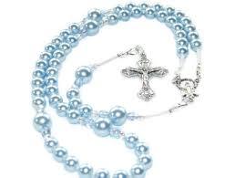 baptism rosary baptism rosary blue swarovski pearls with silver felt