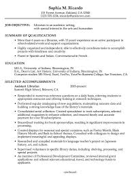 French Resume Examples by Librarian Resume The Wile E Resume Examples Teacher Librarian 10