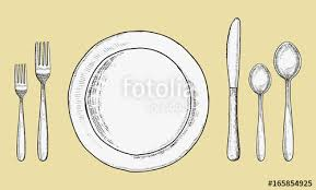 cutlery forks and spoons with knives and plates vector sketch