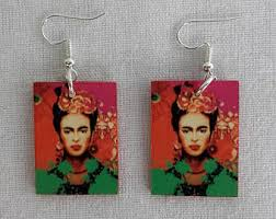 frida earrings frida kahlo earrings etsy