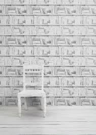 almost white photocopy bookshelf wallpaper by mineheart