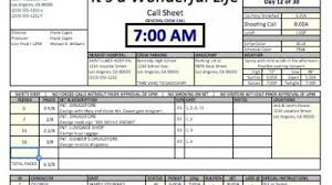 Call Sheet Template Casper Spreadsheet Template Makes Call Sheets And Production