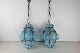 Murano Glass Lighting Pendants by Vintage Seguso Murano Blue Glass Cage Pendant Lights At 1stdibs