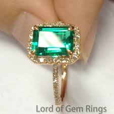 emerald engagement ring 419 emerald cut emerald engagement ring pave wedding 14k