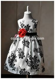 2015 white and black printed flower dress for party latest
