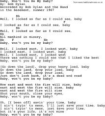 The Basement Lyrics Bob Dylan Song Baby Won U0027t You Be My Baby Lyrics And Chords