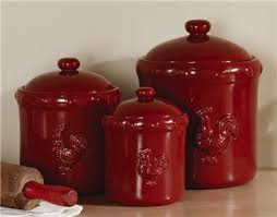 rooster kitchen canisters country decor rustic red rooster ceramic kitchen canister set new