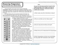 measuring temperature 4th grade reading comprehension worksheet