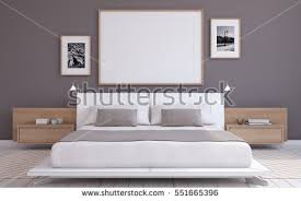 Gray Modern Bedroom Modern Bedroom Interior Frame Mockup 3d Stock Illustration
