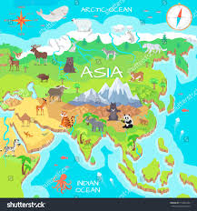 North Asia Map by Asia Mainland Cartoon Map Fauna Species Stock Vector 513854284