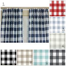 Navy Blue Plaid Curtains Buffalo Plaid Curtain Panel Set Plaid Curtains Navy
