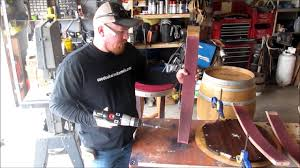 how to build used oak wine barrel table youtube
