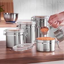 stainless steel kitchen canister vonshef clip top jars 4 coffee tea storage canister set