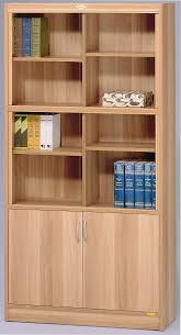 Solid Wood Bookcases With Glass Doors Furniture White Bookshelf With Glass Doors In The Corner Of