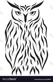 tribal eagle owl tattoo royalty free vector image