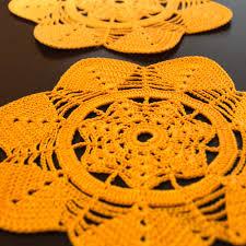 orange hand crocheted doily cotton doily table decor home decor