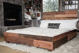 Platform Bed Pallet Reclaimed Wood Platform Bed Caminito Grey Reclaimed Wood King