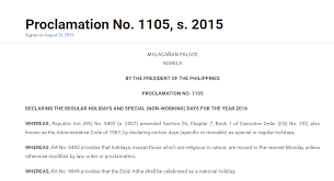 malacanang declared the 2016 holidays list of regular and