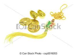 new year gold coins new year ornament gold coins and ingots on white stock