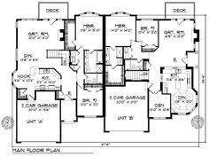 Duplex Plans With Garage Duplex Plan Chp 33733 At Coolhouseplans Com Retirement Home