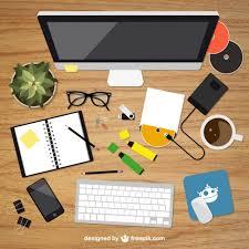 Desk Top Design Realistic Graphic Designer Desktop In Top View Vector Free Download