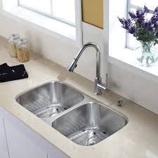 Undermount Kitchen Sink With Faucet Holes Kraus Kbu22 Kpf1650 Ksd30ch 32 Inch Undermount Double Bowl