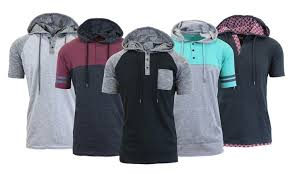 men u0027s marled henley hoodie with contrast groupon