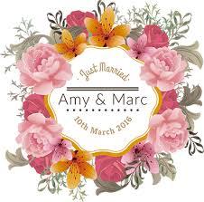 personalised floral frame wedding sticker tenstickers