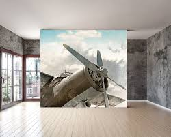 wall mural vintage old airplane wall paper repositionable zoom