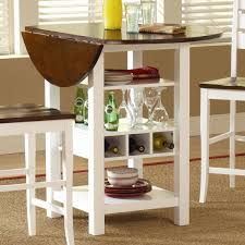 small round double drop leaf kithcen table with plate and wine