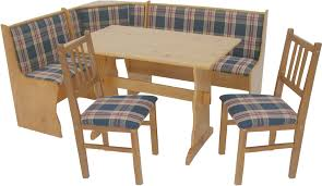 narrow kitchen nook table with plaid banquette bench and
