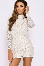 high neck dress ashcroft white flocked lace high neck mini dress in the style