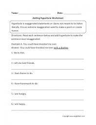 figurative figurative language worksheets hyperbole lesson plans 5th grade