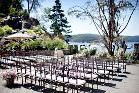 unique wedding venues island outdoor ceremony setup at poets cove resort pender island b c